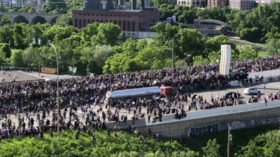 Hundreds scatter in panic as tanker truck nearly PLOWS into crowd of protesters in Minneapolis