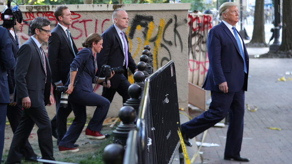 Trump DENIES ordering dispersal of protesters before church photo op, claims no tear gas was used