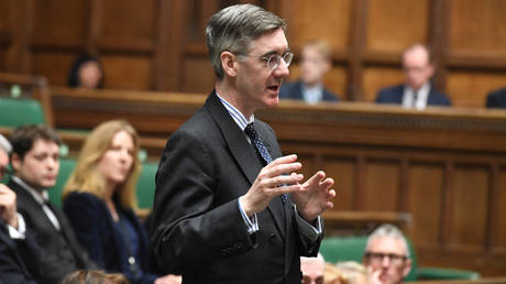 Britain's Leader of the House of Commons Jacob Rees-Mogg speaks in the House of Commons © REUTERS/UK Parliament/Jessica Taylor/Handout