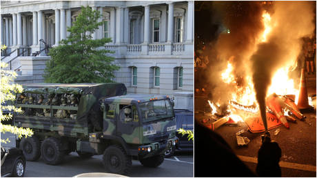 (L) National Guard troops seen near the White House, in Washington, DC, June 1, 2020; (R)  Protesters set a fire during a rally against police killing of George Floyd, in Washington, DC, May 31, 2020.