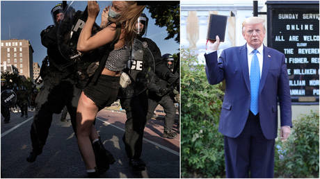 (L) Riot police clear Lafayette Park near the White House for President Donald Trump's photo-op in front of St. John's Episcopal Church, June 1, 2020; (R) Trump stands in front of St. John's Church, June 1, 2020.