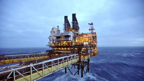 A section of the BP oil platform is seen in the North Sea, around 100 miles east of Aberdeen in Scotland