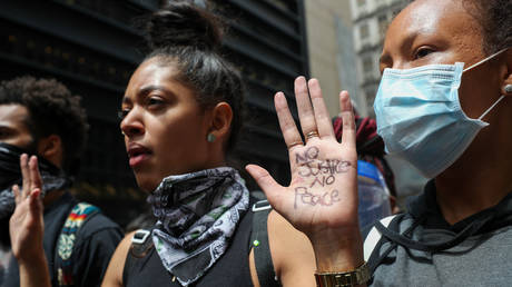 New Yorkers protest over the death of George Floyd on June 2, 2020 in Lower Manhattan, New York City, United States