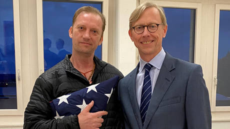 Michael White with US Special Envoy for Iran Brian Hook in Zurich, Switzerland.