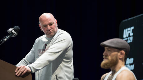 UFC boss Dana White and fighter Conor McGregor. © Zuffa LLC via Getty Images