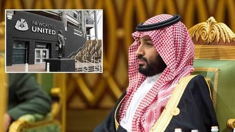 Saudi Crown Prince Mohammed bin Salman and Newcastle United's St James' Park stadium. ©  Saudi Royal Court Handout via Reuters / Reuters
