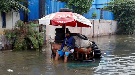 A vendor sits on the cart at a flooded area affected by land subsidence and rising sea level in North Jakarta, Indonesia, June 5, 2020. © Reuters / Ajeng Dinar Ulfiana