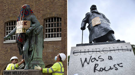 (L) A statue of Robert Milligan in London, Britain, June 9, 2020; (R) Graffiti on a statue of Winston Churchill in Parliament Square, London, Britain, June 7, 2020 © Reuters / John Sibley; Dylan Martinez