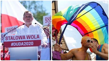 Andrzej Duda attends an election rally. ©Patryk Ogorzalek/Agencja Gazeta via REUTERS /  Gay Pride march in Warsaw in 2010. ©REUTERS/Kacper Pempel