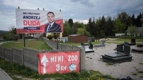 FILE PHOTO. An election poster of Polish President Andrzej Duda.