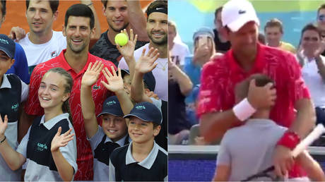 Watch Ball Boy Get The Better Of Novak Djokovic As Pair Play At Controversial New Tournament