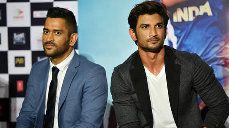 Indian cricket icon MS Dhoni and late Bollywood actor Sushant Singh Rajput. © The India Today Group via Getty Images
