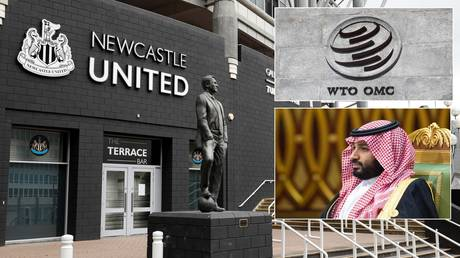 Newcastle United's St James' Park stadium, the WTO and Saudi Crown Prince Mohammed bin Salman. © Reuters / Saudi Royal Court handout