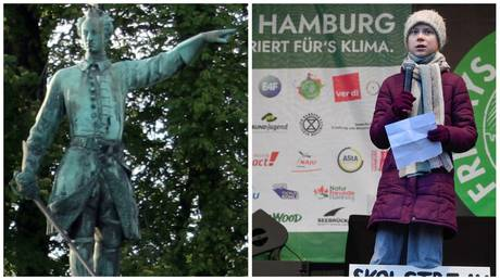 Statue of King Charles XII in Stockholm (L) and Greta Thunberg (R) © Wikimedia Commons; REUTERS/Fabian Bimmer