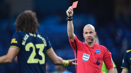 David Luiz receives his marching orders by referee Anthony Taylor