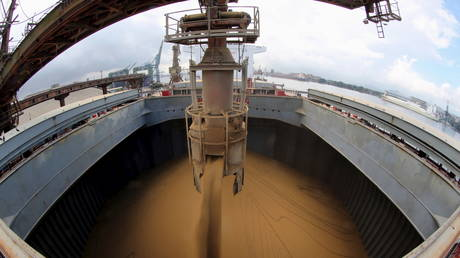 A Chinese ship is loaded with soybeans