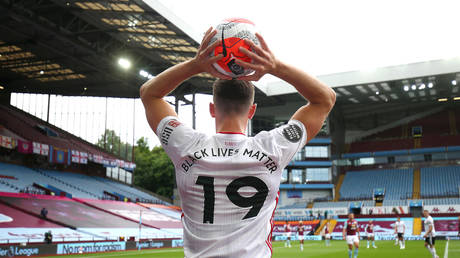 Jack Robinson of Sheffield United prepares to take a throw during the Premier League match between Aston Villa and Sheffield United at Villa Park on June 17, 2020 in Birmingham, United Kingdom