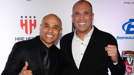 Ali Abdelaziz (left) with MMA legend Royce Gracie