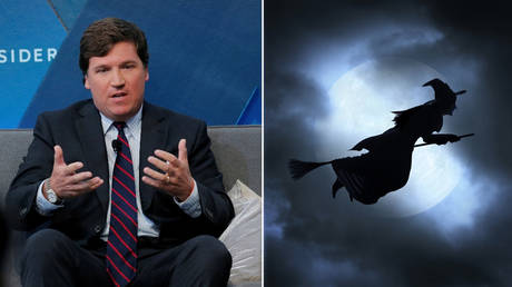 (L) Tucker Carlson speaks at Future of Media conference in New York © Reuters / Bob Care; (R) © Getty Images / DNY59