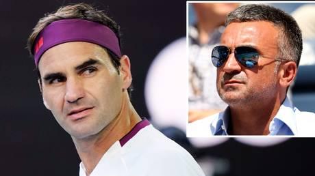 Roger Federer and (inset) Srdjan Djokovic