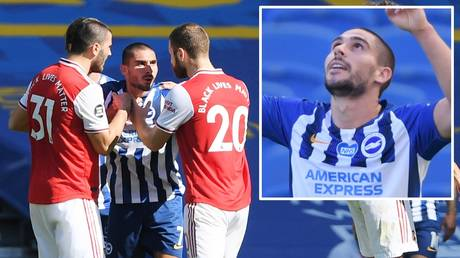 Neal Maupay is confronted by Arsenal players after Brighton's win over the Gunners