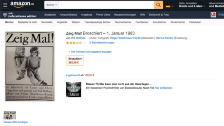 A screenshot of the now deleted Amazon page of the 'Zeig Mal!' (Show me!) brochure by Will McBride.