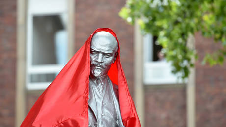A statue of Vladimir Lenin is seen in front of the headquarters of the left-wing MLPD party in Gelsenkirchen, Germany on June 20, 2020.