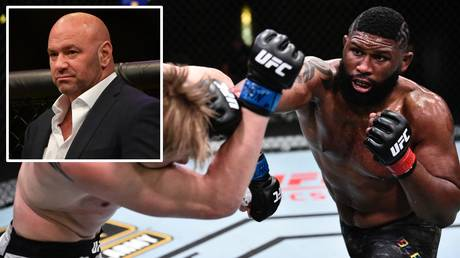 Curtis Blaydes won the UFC Vegas 3 main event, but UFC president Dana White (inset) wasn't impressed