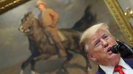 FILE PHOTO: Donald Trump speaks in front of a portrait of Theodore Roosevelt © REUTERS / Jonathan Ernst