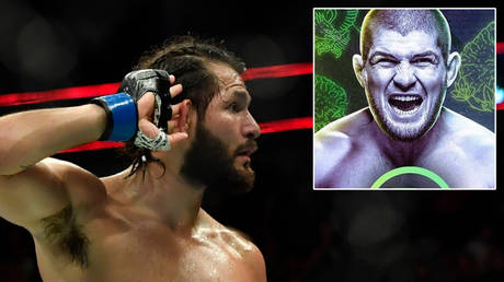 Jorge Masvidal © Steven Flynn / USA TODAY Sports via Reuters | A mock-up of Khabib Nurmagomedov on the cover of PS5 game UFC 4 © Instagram / bozedd
