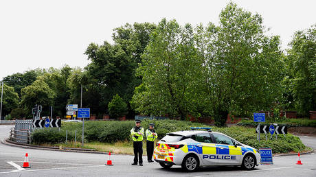 A police cordon outside Forbury Gardens following a stabbing attack in Reading, Britain. June 21, 2020. © Reuters / Matthew Childs
