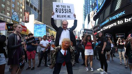FILE PHOTO: An anti-Trump protest in Times Square, New York, July 26, 2017 © Reuters / Carlo Allegri