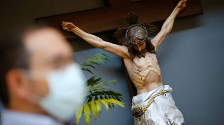A 'white' sculpture of Jesus Christ outside a Catholic church in Caracas, Venezuela in this April 12, 2020 file photo.