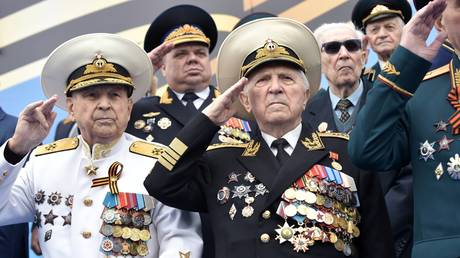 FILE PHOTO Veterans salute during the Victory Day parade at the Red Square in Moscow, Russia, marking the 74th anniversary of defeating the Nazis in the WWII. © Sputnik / Alexey Nikolskii