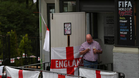 An England soccer fan checks his phone at The Robin pub near Newcastle, Britain © REUTERS/Scott Heppel