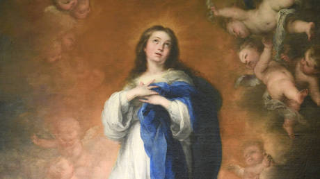 FILE PHOTO: The original painting 'The immaculate Conception of Los venerables' by Spanish artist Bartolome Murillo at the Prado Museum on June 4, 2020 in Madrid