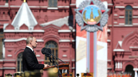 Russia's President Vladimir Putin delivers a speech during the Victory Day Parade in Red Square in Moscow, Russia, June 24, 2020. © REUTERS / Sergey Pyatakov