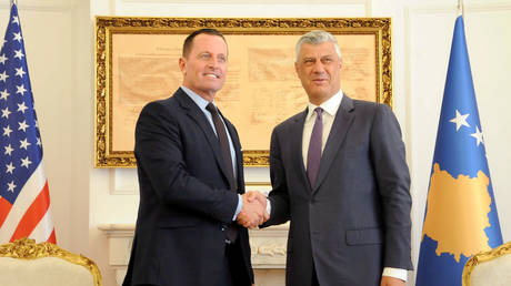 Ambassador Ric Grenell (R) and 'president' of Kosovo Hashim Thaci (L) in Pristina, October 9, 2019.