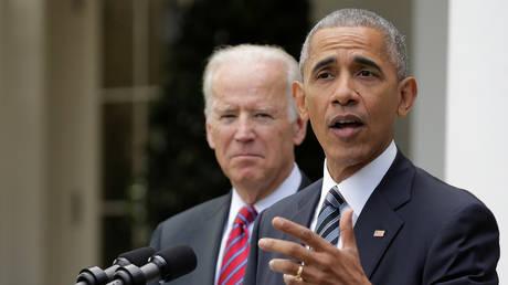 President Barack Obama and Vice President Joe Biden speak after the election of Donald Trump,  November 9, 2016.