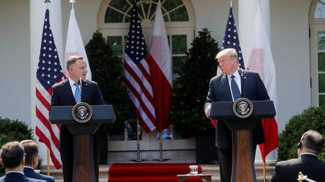US President Donald Trump holds a joint news conference with Poland's President Andrzej Duda in the Rose Garden at the White House, June 24, 2020.
