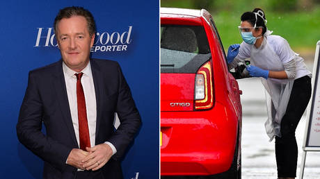 (L) TV presenter Piers Morgan © AFP/CHRIS DELMAS (R) A medical worker tests a key worker for Covid-19 © AFP/Ben STANSALL