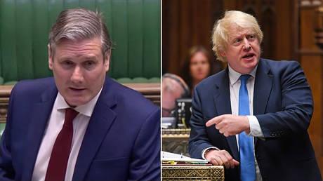 (L) Labour Party leader Keir Starmer © Parliament TV/Reuters TV (R) British PM Boris Johnson © REUTERS/UK Parliament/Jessica Taylor/Handout