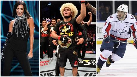 Russian pop star Olga Buzova, UFC fighter Khabib Nurmagomedov, and NHL ace Alexander Ovechkin. © Sputnik / Getty Images / Zuffa LLC / Getty Images via AFP
