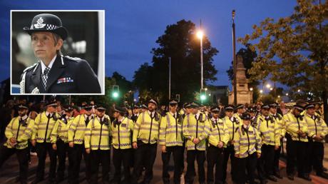 © AFP / Daniel Leal-Olivas; inset Metropolitan Police Commissioner Cressida Dick © REUTERS/Simon Dawson
