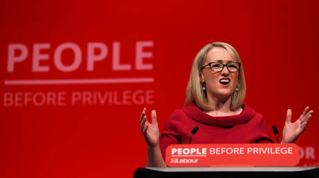 FILE PHOTO: Rebecca Long-Bailey speaks at the Labour party annual conference in Brighton, Britain September 24, 2019