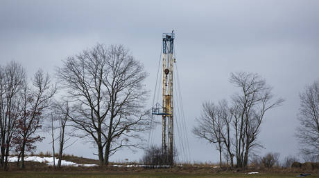 A Natural Gas rig operated by Chesapeake is picture in Bradford County, Pennsylvania, US