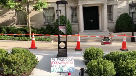 Guillotine set up by protesters outside Jeff Bezos' DC residence