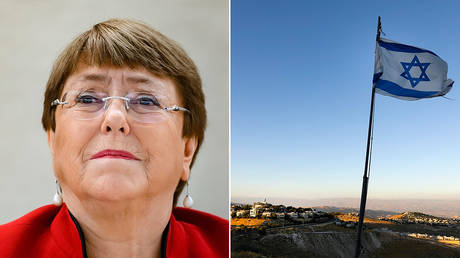 (L) UN High Commissioner for Human Rights Michelle Bachelet © AFP / FABRICE COFFRINI, (R) Israel flag in the occupied West Bank © AFP / KFAR ADUMIM