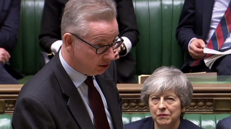 Former British Prime Minister Theresa May and Cabinet Office Minister Michael Gove © AFP / HO / PRU