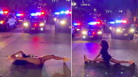 WATCH: Thong-wearing Black Lives Matter activist twerks at police in raunchy protest